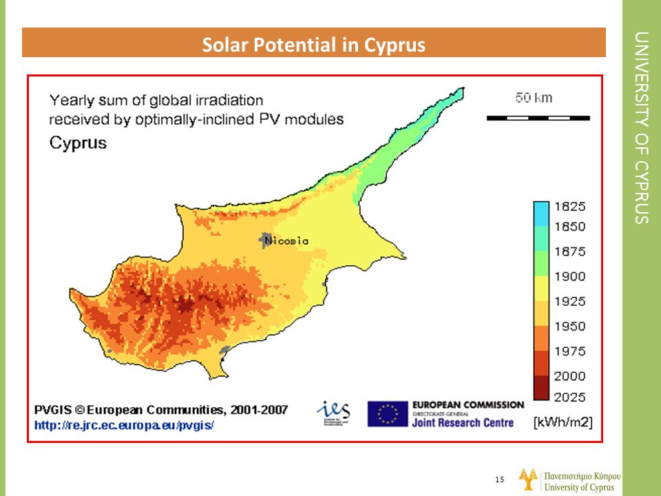 UNIVERSITY OF CYPRUS Solar Potential in Cyprus 15