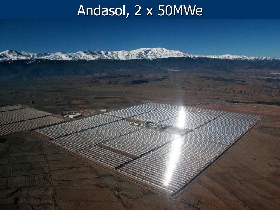 CSP in Spain (October, 2011) 2.500 MW foreseen at the end of 2013 902 MW, 22 plants 2.600 GWh/y