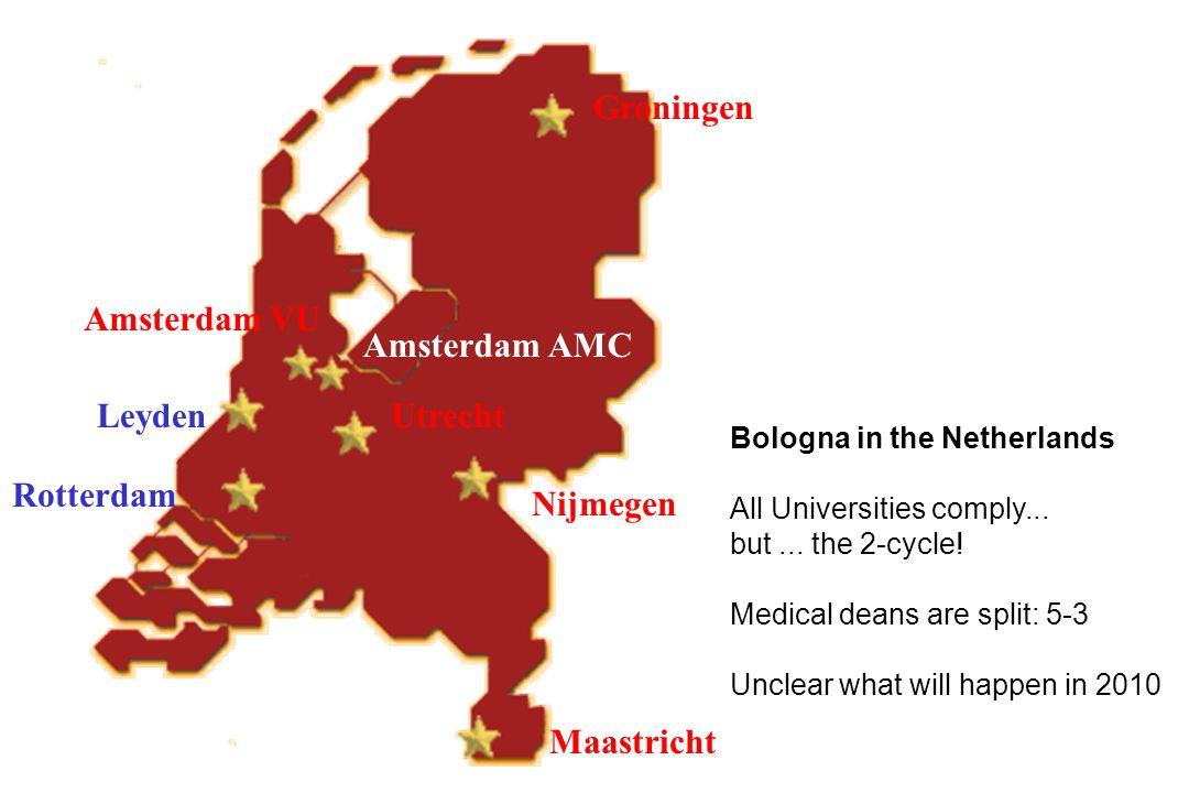 Rotterdam Leyden Amsterdam AMC Groningen Nijmegen Maastricht Utrecht Amsterdam VU Bologna in the Netherlands All Universities comply... but... the 2-c