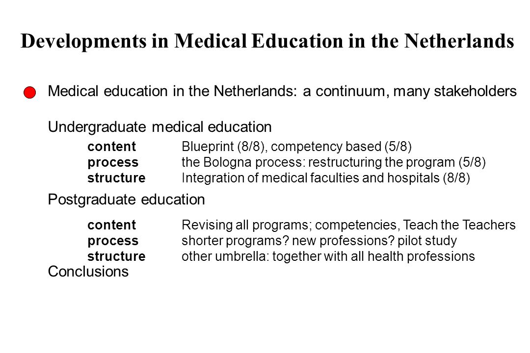 Developments in Medical Education in the Netherlands Medical education in the Netherlands: a continuum, many stakeholders Undergraduate medical educat