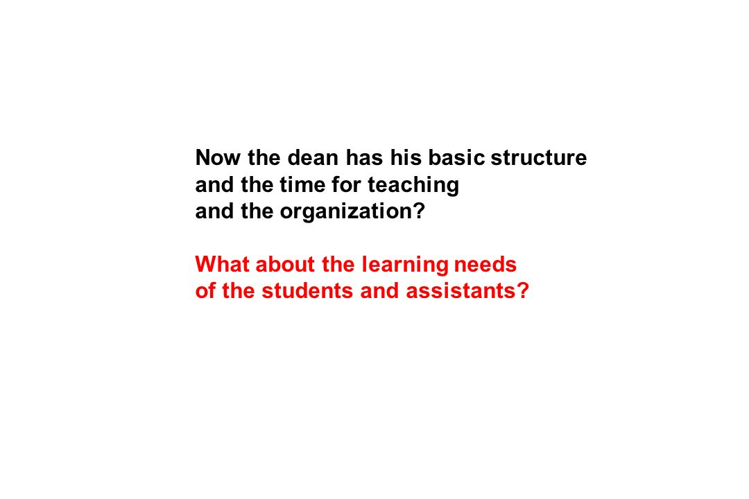 Now the dean has his basic structure and the time for teaching and the organization.