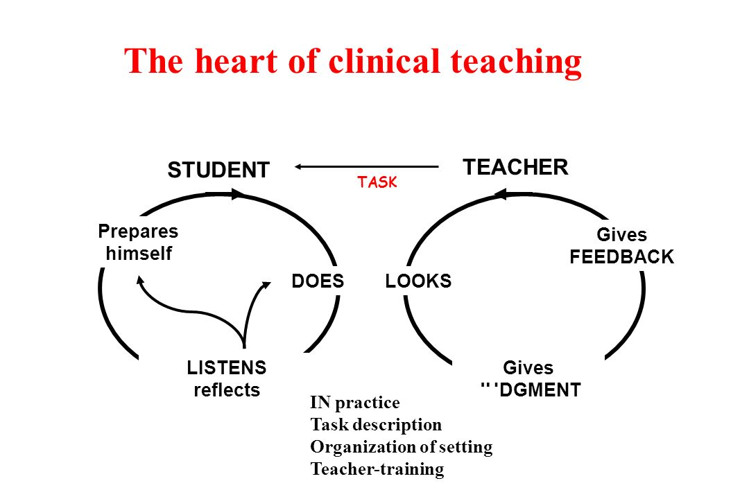 STUDENT TEACHER TASK Prepares himself LISTENS reflects Gives JUDGMENT DOES LOOKS Gives FEEDBACK The heart of clinical teaching IN practice Task description Organization of setting Teacher-training