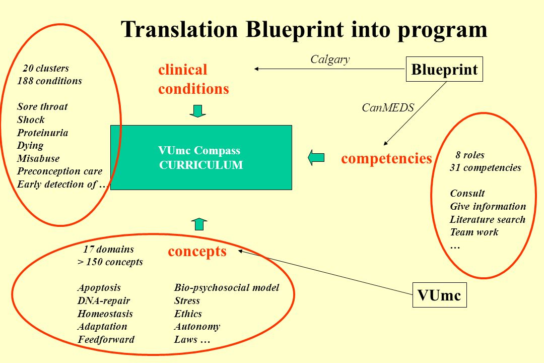 VUmc Compass CURRICULUM Blueprint clinical conditions competencies VUmc 8 roles 31 competencies Consult Give information Literature search Team work … 20 clusters 188 conditions Sore throat Shock Proteinuria Dying Misabuse Preconception care Early detection of … 17 domains > 150 concepts ApoptosisBio-psychosocial model DNA-repairStress HomeostasisEthics AdaptationAutonomy FeedforwardLaws … concepts CanMEDS Calgary Translation Blueprint into program