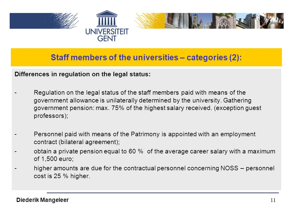 11 Staff members of the universities – categories (2): Differences in regulation on the legal status: -Regulation on the legal status of the staff members paid with means of the government allowance is unilaterally determined by the university.