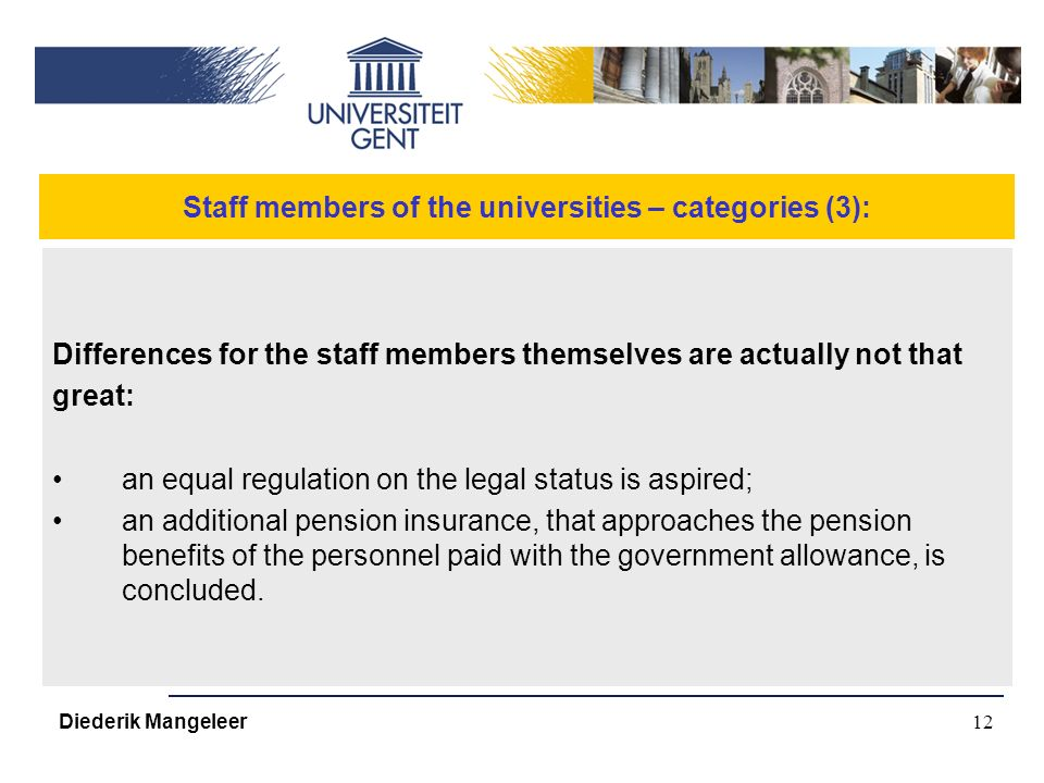 12 Staff members of the universities – categories (3): Differences for the staff members themselves are actually not that great: an equal regulation on the legal status is aspired; an additional pension insurance, that approaches the pension benefits of the personnel paid with the government allowance, is concluded.
