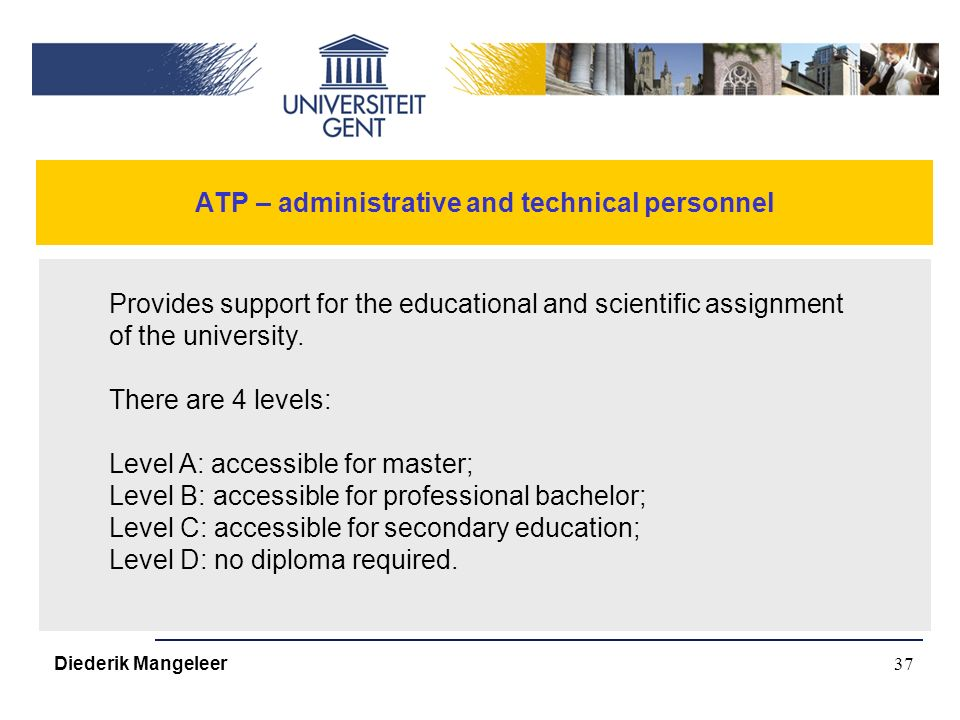 37 ATP – administrative and technical personnel Diederik Mangeleer Provides support for the educational and scientific assignment of the university.