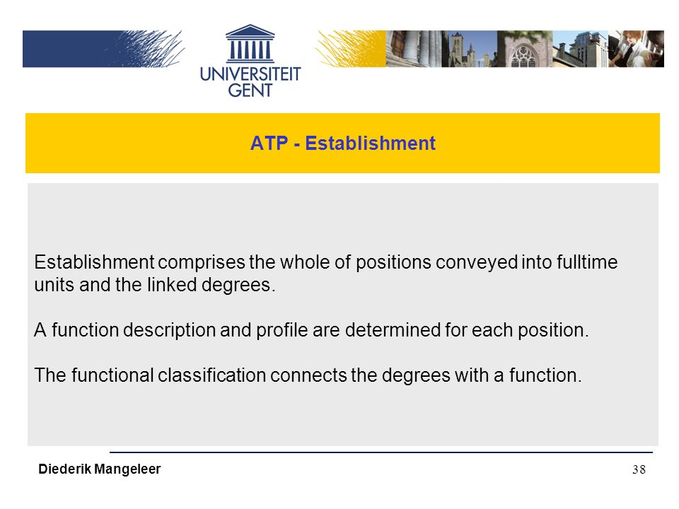 38 ATP - Establishment Establishment comprises the whole of positions conveyed into fulltime units and the linked degrees.