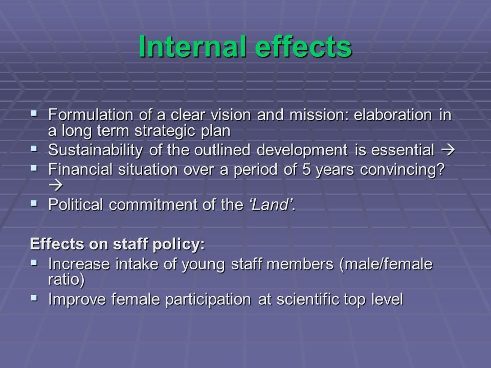 Internal effects Formulation of a clear vision and mission: elaboration in a long term strategic plan Formulation of a clear vision and mission: elaboration in a long term strategic plan Sustainability of the outlined development is essential Sustainability of the outlined development is essential Financial situation over a period of 5 years convincing.