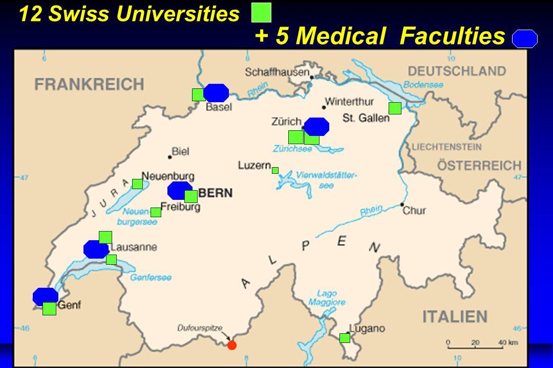 12 Swiss Universities + 5 Medical Faculties