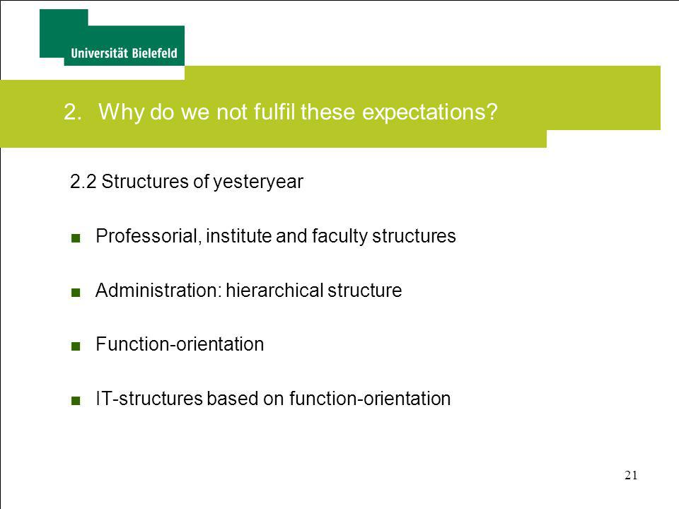21 2.2 Structures of yesteryear Professorial, institute and faculty structures Administration: hierarchical structure Function-orientation IT-structur