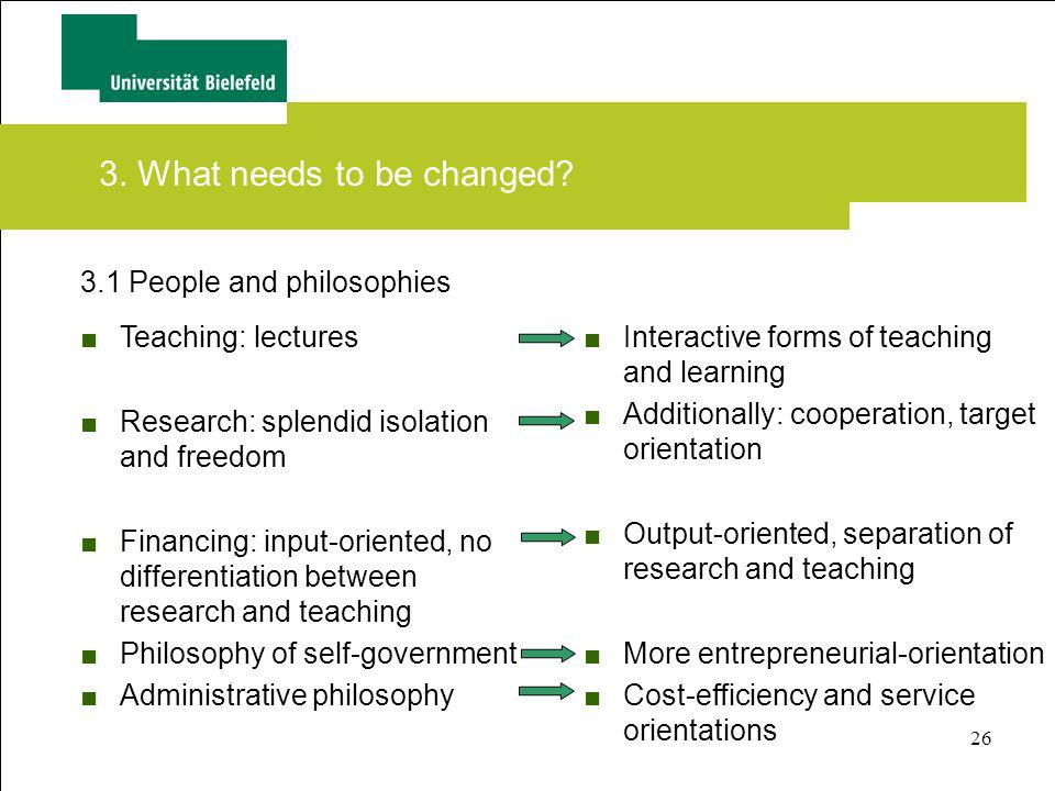 26 3.1 People and philosophies 3. What needs to be changed? Interactive forms of teaching and learning Additionally: cooperation, target orientation O
