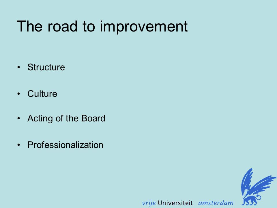 The road to improvement Structure Culture Acting of the Board Professionalization