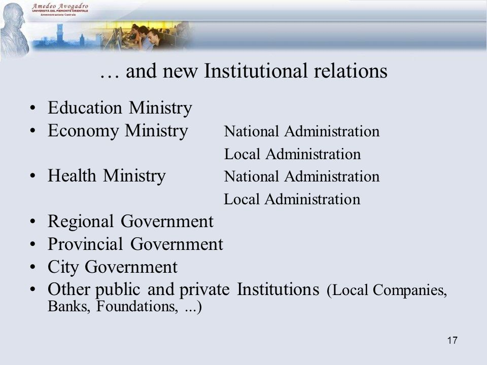 17 … and new Institutional relations Education Ministry Economy Ministry National Administration Local Administration Health Ministry National Administration Local Administration Regional Government Provincial Government City Government Other public and private Institutions (Local Companies, Banks, Foundations,...)