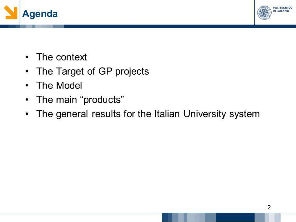 2 Agenda The context The Target of GP projects The Model The main products The general results for the Italian University system