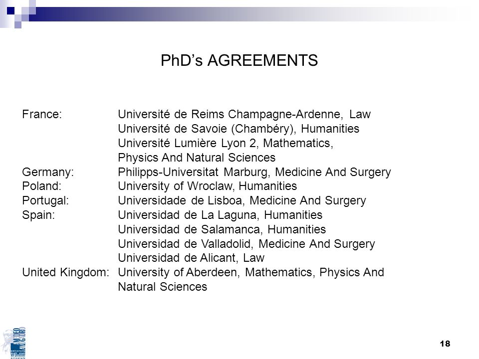 18 PhDs AGREEMENTS France: Université de Reims Champagne-Ardenne, Law Université de Savoie (Chambéry), Humanities Université Lumière Lyon 2, Mathemati