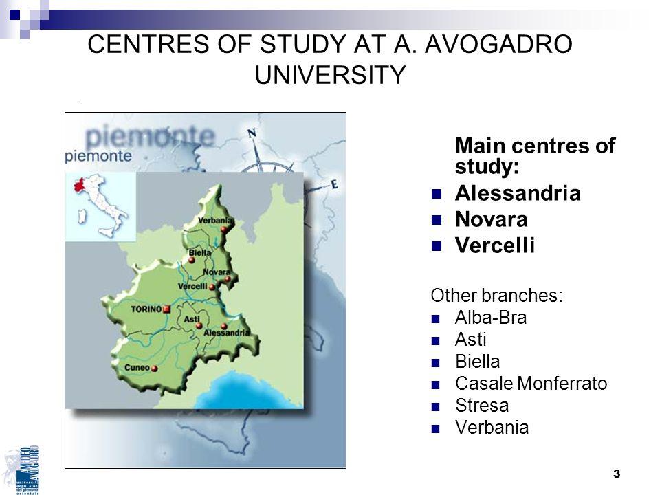 3 Main centres of study: Alessandria Novara Vercelli Other branches: Alba-Bra Asti Biella Casale Monferrato Stresa Verbania CENTRES OF STUDY AT A. AVO
