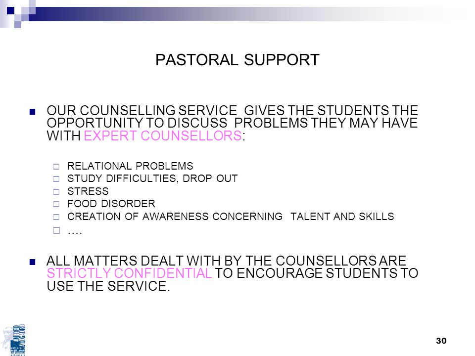 30 PASTORAL SUPPORT OUR COUNSELLING SERVICE GIVES THE STUDENTS THE OPPORTUNITY TO DISCUSS PROBLEMS THEY MAY HAVE WITH EXPERT COUNSELLORS: RELATIONAL P