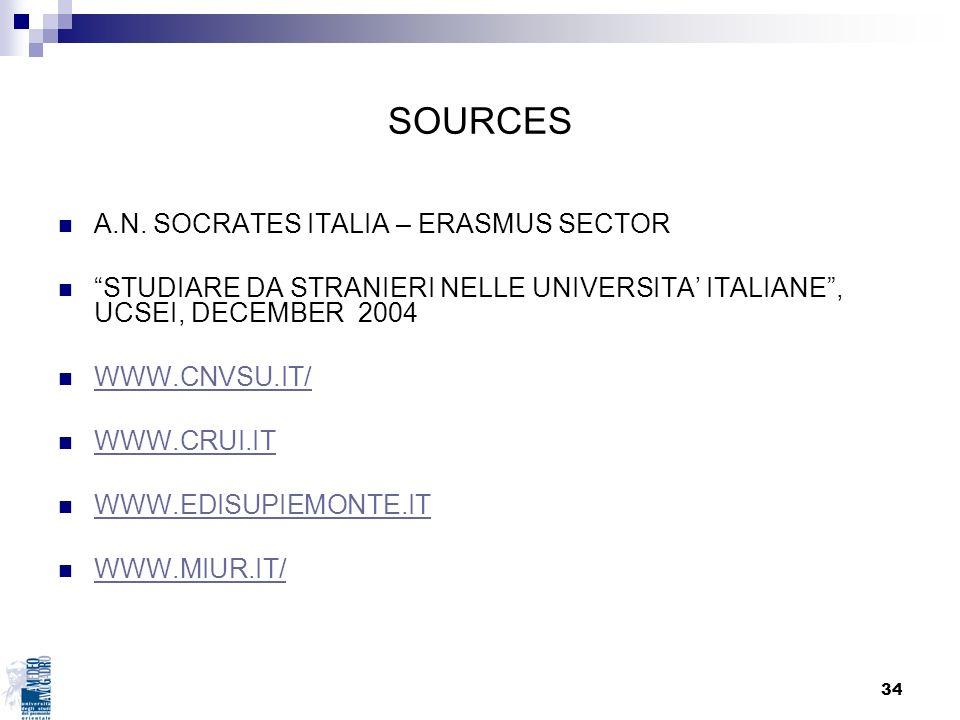 34 SOURCES A.N. SOCRATES ITALIA – ERASMUS SECTOR STUDIARE DA STRANIERI NELLE UNIVERSITA ITALIANE, UCSEI, DECEMBER 2004 WWW.CNVSU.IT/ WWW.CRUI.IT WWW.E