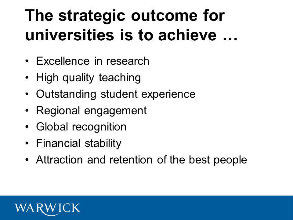 The strategic outcome for universities is to achieve … Excellence in research High quality teaching Outstanding student experience Regional engagement Global recognition Financial stability Attraction and retention of the best people