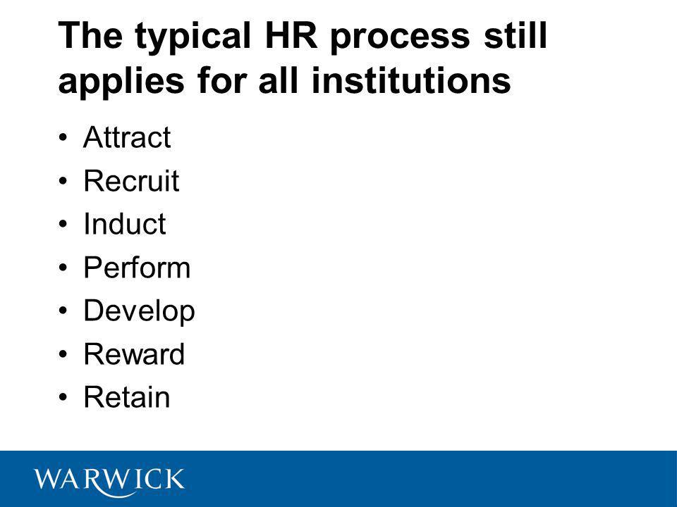 The typical HR process still applies for all institutions Attract Recruit Induct Perform Develop Reward Retain