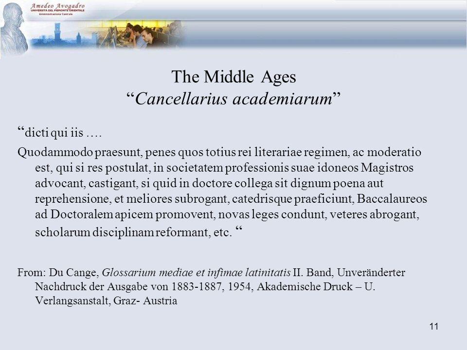 11 The Middle AgesCancellarius academiarum dicti qui iis …. Quodammodo praesunt, penes quos totius rei literariae regimen, ac moderatio est, qui si re