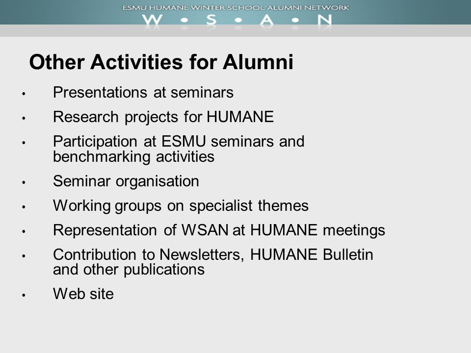 Other Activities for Alumni Presentations at seminars Research projects for HUMANE Participation at ESMU seminars and benchmarking activities Seminar organisation Working groups on specialist themes Representation of WSAN at HUMANE meetings Contribution to Newsletters, HUMANE Bulletin and other publications Web site