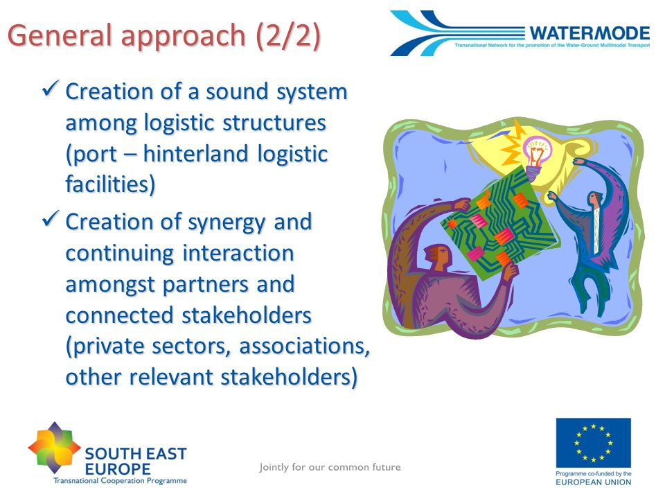 General approach (2/2) Creation of a sound system among logistic structures (port – hinterland logistic facilities) Creation of a sound system among logistic structures (port – hinterland logistic facilities) Creation of synergy and continuing interaction amongst partners and connected stakeholders (private sectors, associations, other relevant stakeholders) Creation of synergy and continuing interaction amongst partners and connected stakeholders (private sectors, associations, other relevant stakeholders)