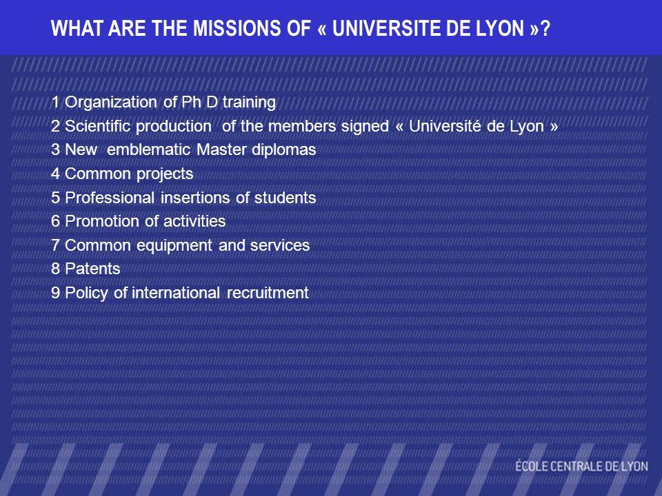 WHAT ARE THE MISSIONS OF « UNIVERSITE DE LYON »? 1 Organization of Ph D training 2 Scientific production of the members signed « Université de Lyon »