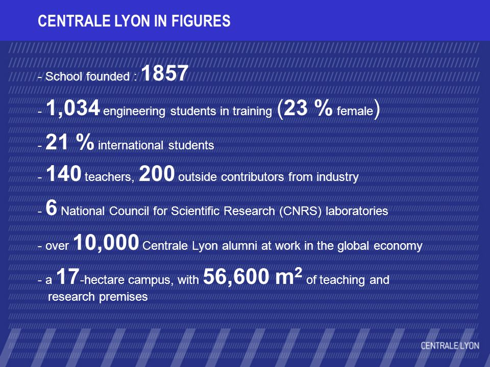 CENTRALE LYON IN FIGURES - School founded : 1857 - 1,034 engineering students in training (23 % female ) - 21 % international students - 140 teachers, 200 outside contributors from industry - 6 National Council for Scientific Research (CNRS) laboratories - over 10,000 Centrale Lyon alumni at work in the global economy - a 17 -hectare campus, with 56,600 m 2 of teaching and research premises