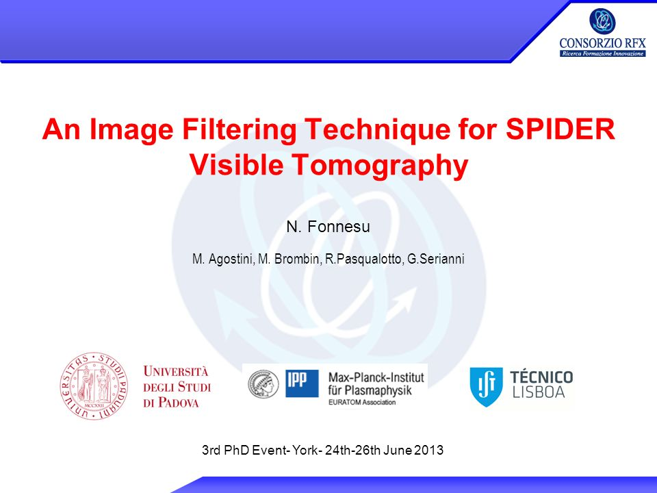 An Image Filtering Technique for SPIDER Visible Tomography N.