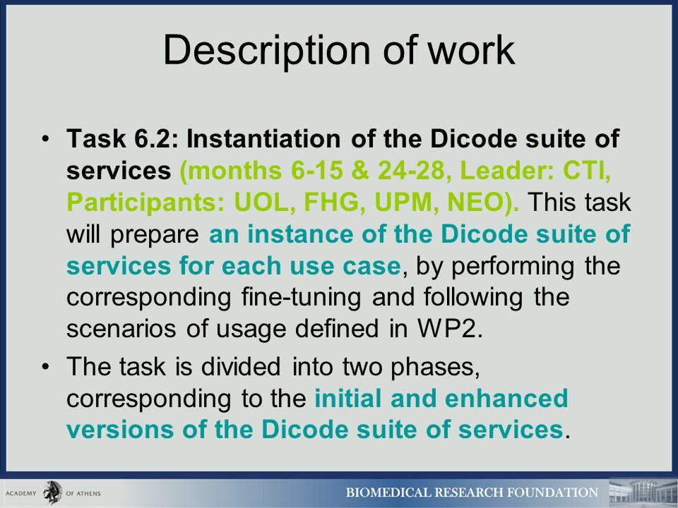 Description of work Task 6.2: Instantiation of the Dicode suite of services (months 6-15 & 24-28, Leader: CTI, Participants: UOL, FHG, UPM, NEO).