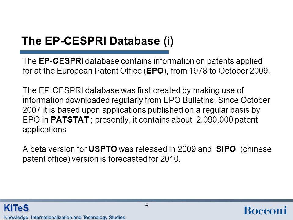 The EP-CESPRI Database (ii) EP-CESPRI data fall into three broad categories: 1.