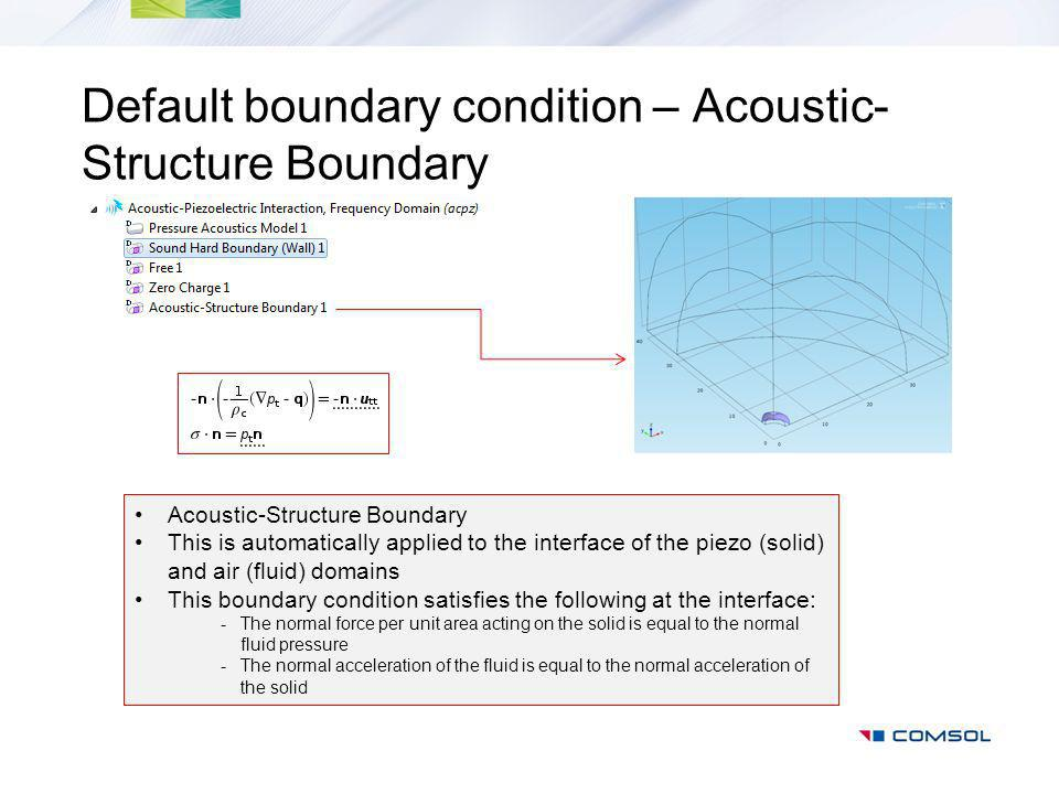 Default boundary condition – Acoustic- Structure Boundary Acoustic-Structure Boundary This is automatically applied to the interface of the piezo (solid) and air (fluid) domains This boundary condition satisfies the following at the interface: -The normal force per unit area acting on the solid is equal to the normal fluid pressure -The normal acceleration of the fluid is equal to the normal acceleration of the solid