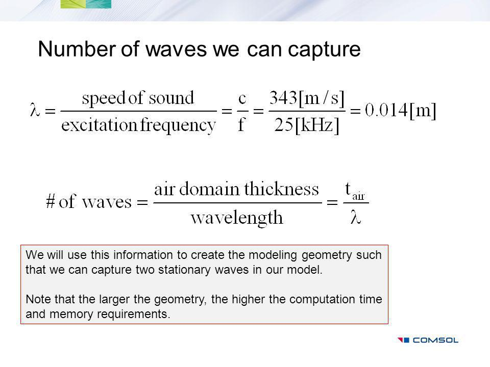 Number of waves we can capture We will use this information to create the modeling geometry such that we can capture two stationary waves in our model.