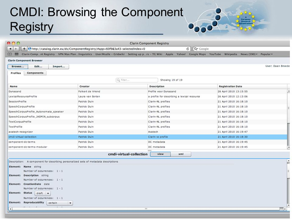 CMDI: Browsing the Component Registry