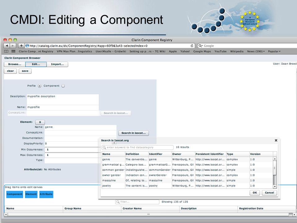 CMDI: Editing a Component