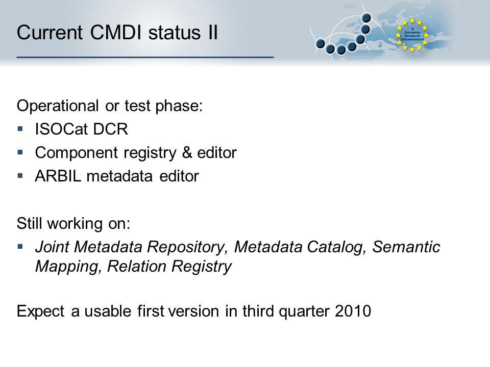 Current CMDI status II Operational or test phase: ISOCat DCR Component registry & editor ARBIL metadata editor Still working on: Joint Metadata Reposi