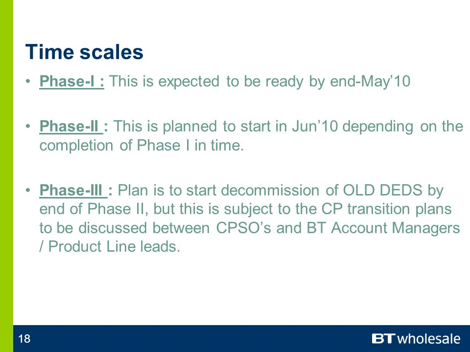 18 Time scales Phase-I : This is expected to be ready by end-May10 Phase-II : This is planned to start in Jun10 depending on the completion of Phase I in time.