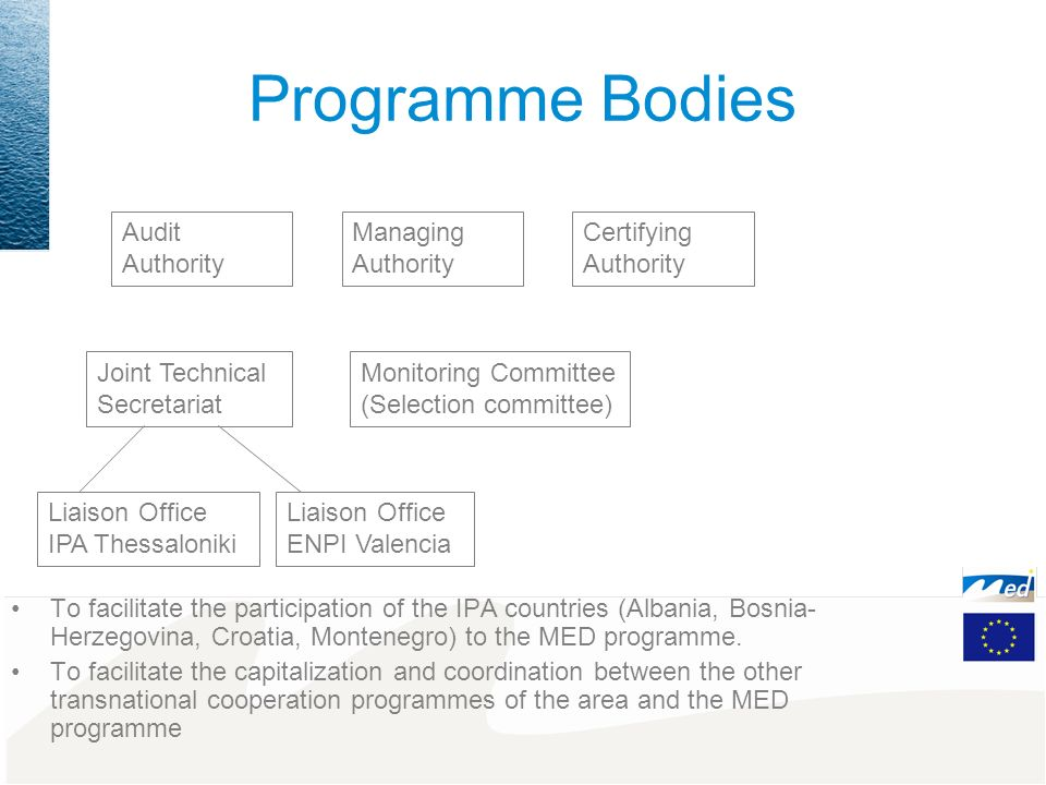 Mission of the Thessaloniki Liaison Office Objectives: To facilitate the participation of the IPA countries (Albania, Bosnia-Herzegovina, Croatia, Montenegro) to the MED programme.