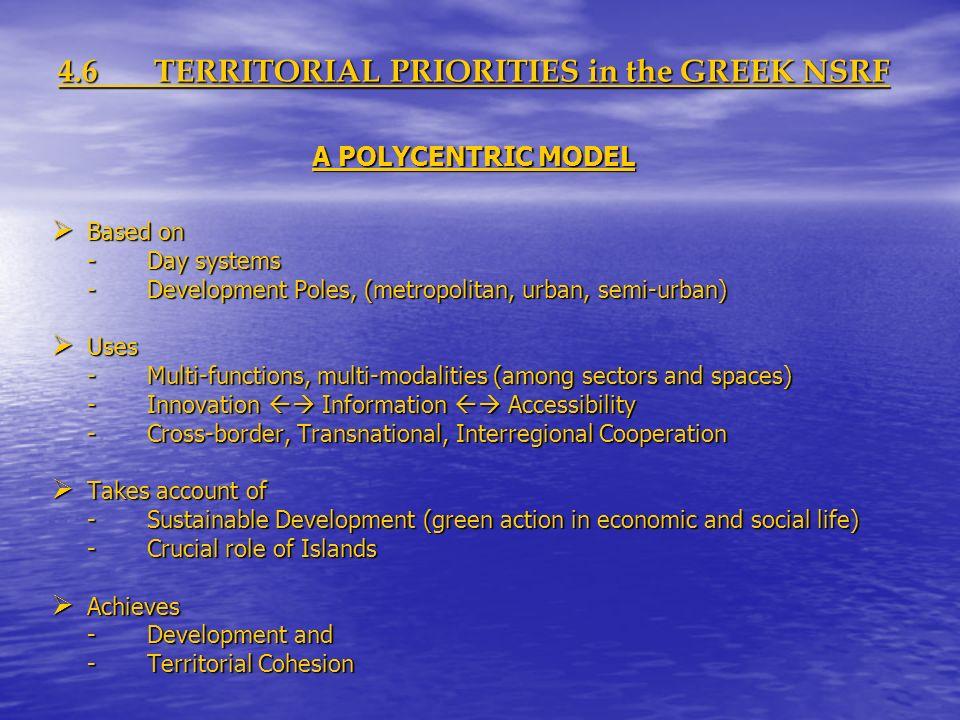 4.6TERRITORIAL PRIORITIES in the GREEK NSRF A POLYCENTRIC MODEL Based on Based on -Day systems -Development Poles, (metropolitan, urban, semi-urban) U