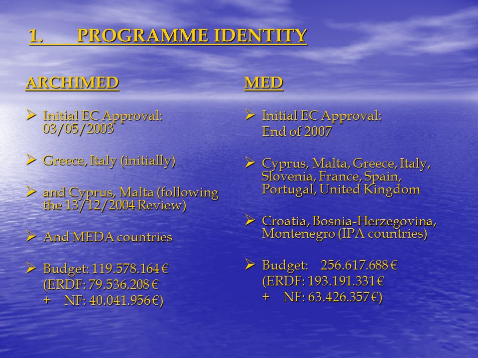 1.PROGRAMME IDENTITY ARCHIMED Initial EC Approval: 03/05/2003 Initial EC Approval: 03/05/2003 Greece, Italy (initially) Greece, Italy (initially) and