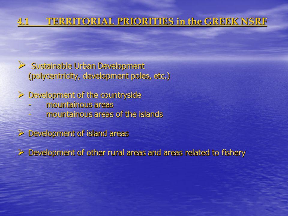 4.1TERRITORIAL PRIORITIES in the GREEK NSRF Sustainable Urban Development Sustainable Urban Development (polycentricity, development poles, etc.) Deve