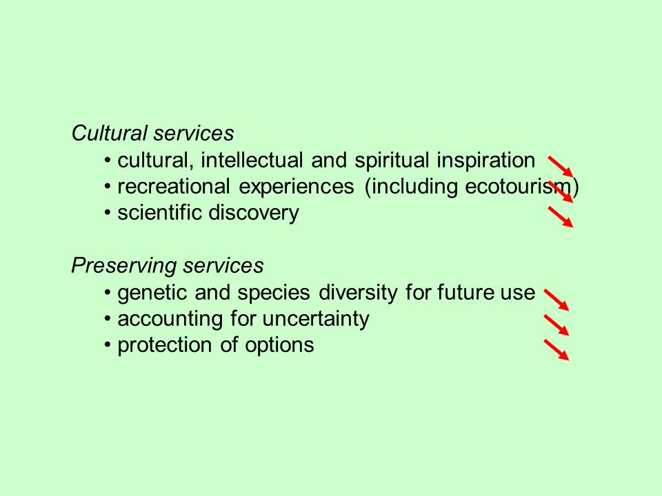 Cultural services cultural, intellectual and spiritual inspiration recreational experiences (including ecotourism) scientific discovery Preserving services genetic and species diversity for future use accounting for uncertainty protection of options