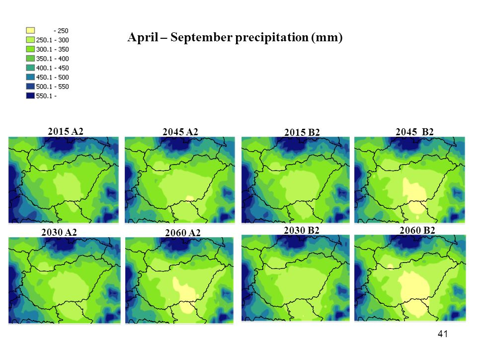 41 April – September precipitation (mm) 2015 A A A A B B B B2