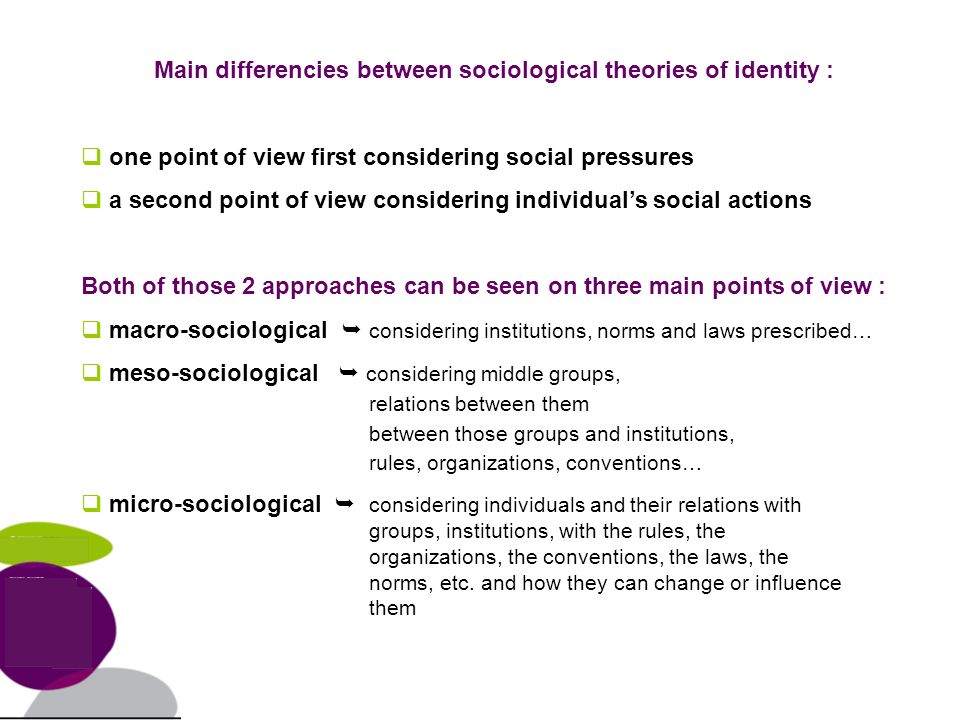 Main differencies between sociological theories of identity : one point of view first considering social pressures a second point of view considering individuals social actions Both of those 2 approaches can be seen on three main points of view : macro-sociological considering institutions, norms and laws prescribed… meso-sociological considering middle groups, relations between them between those groups and institutions, rules, organizations, conventions… micro-sociological considering individuals and their relations with groups, institutions, with the rules, the organizations, the conventions, the laws, the norms, etc.