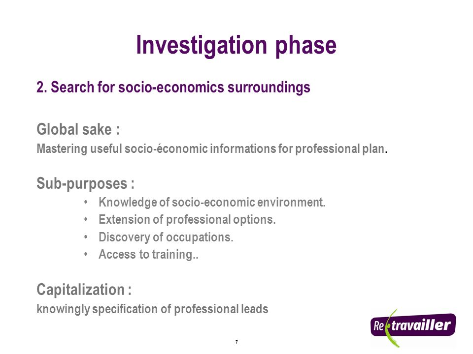 8 3.Decision making Global sake : Professional project working out and planning.