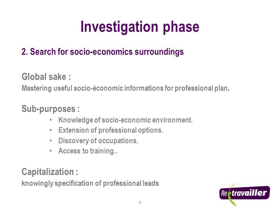 7 2. Search for socio-economics surroundings Global sake : Mastering useful socio-économic informations for professional plan. Sub-purposes : Knowledg