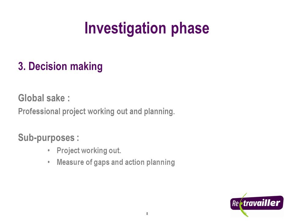 8 3. Decision making Global sake : Professional project working out and planning.