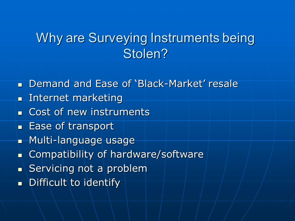 Why are Surveying Instruments being Stolen.