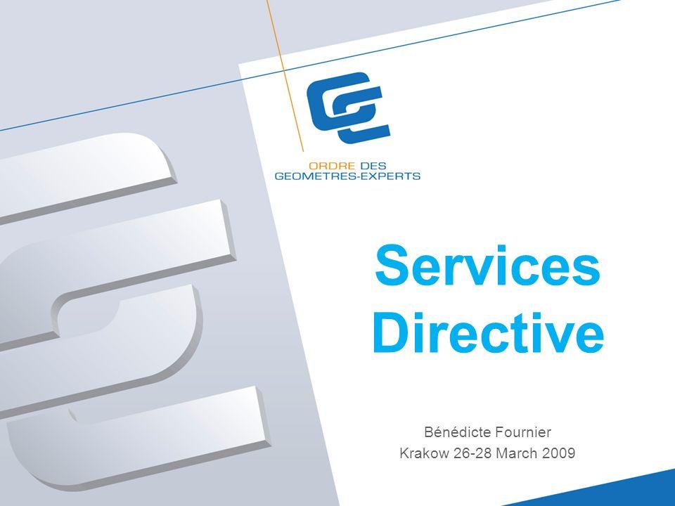 Services Directive Bénédicte Fournier Krakow 26-28 March 2009